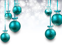 Background with blue christmas balls. Stock Photo