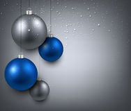 Background with blue christmas balls. Royalty Free Stock Photo