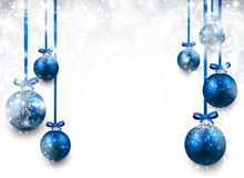Background with blue christmas balls. Stock Photos