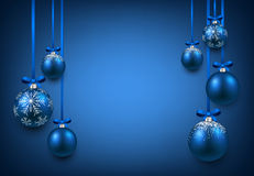 Background with blue christmas balls. Royalty Free Stock Photos