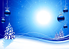 Background with blue Christmas balls and stars. Background with Christmas tree and balls, illustration Royalty Free Stock Photography