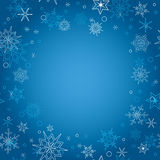 Background - blue christmas vector card with snowflakes Royalty Free Stock Images