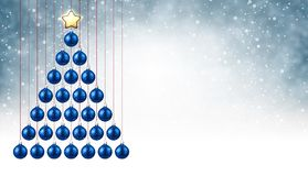 Background with blue Christmas tree. New Year background with blue Christmas balls. Vector illustration Stock Photos