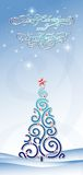 Background with blue christmas tree Royalty Free Stock Photography