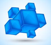 Background with blue cubes. Abstract illustration Stock Images