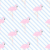 Background with a blue diagonal stripe and flamingos. Seamless background Royalty Free Stock Photos