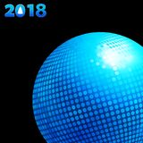 2018 background with blue disco ball and date. 3D Illustration of Blue Disco Ball and 2018 Twenty Eighteenth in Blue Numbers with Tree Over Black Background Stock Image