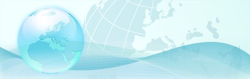 Background with blue earth and abstract waves Royalty Free Stock Images