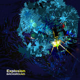 Background of blue exploding in cosmos with highlights. With space for text Stock Photography