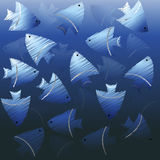 Background with blue fishes Royalty Free Stock Photography