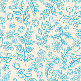 Background with blue flowers. Cute seamless background with blue flowers leaves and berries Royalty Free Stock Images