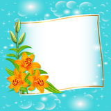 Background with blue flowers and patches of light. Illustration background with blue flowers and patches of light Royalty Free Stock Photo