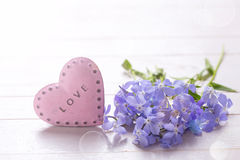 Background with  blue  flowers and  pink decorative heart Royalty Free Stock Photography