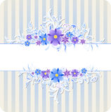Background with blue flowers and strips Stock Photos