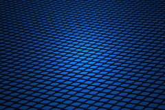 Background, blue gauze. Metal grill of diamond shaped mesh, used in the construction industry, against black Royalty Free Stock Image