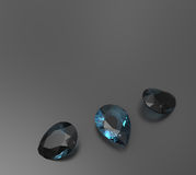 Background with blue gemstones. 3D illustration stock photography