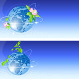 Background with blue globe Stock Photography