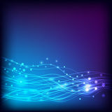 Background blue. Glowing lines and stars. Royalty Free Stock Images