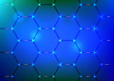 Background with blue hexagon texture Stock Photos