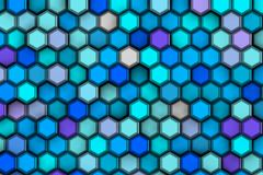 Background of blue hexagons with relief and shadows, Royalty Free Stock Image
