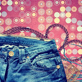 Background with blue jeans Royalty Free Stock Photo