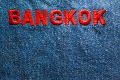 Background blue jeans and text. stock image