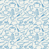 Background with blue kitchen utensils Stock Photography