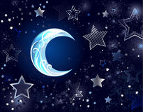 Background with a blue moon. Dark night background with blue patterned silver moon and stars Stock Photo