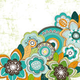 Background with blue orange an green flowers Royalty Free Stock Photography