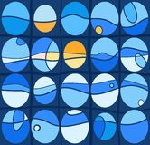 Background, blue ovals, waves, seamless. Stock Photography