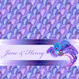 Background of blue pattern, peacock fether decor and text place Royalty Free Stock Images