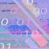 BACKGROUND FROM THE BINARY CODE IMAGE. Background of blue and pink geometric shapes and binary code for text stock illustration