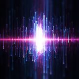 Background of blue and purple sound waves stock image