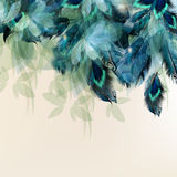 Background with blue realistic feathers Stock Images