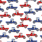 Background blue and red cartoon retro car Royalty Free Stock Photo