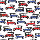 Background blue and red cartoon retro car. Stock Photo
