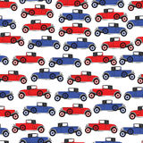 Background blue and red cartoon retro car Stock Photos