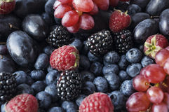 Background of blue and red fruits and berry. Ripe raspberries, blackberries, blueberries, grapes and plums. Various fresh summer fruits. Top view Stock Photography