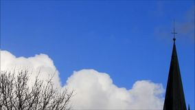Background blue sky with clouds and church. Background blue sky with clouds, tree, church,  winter stock footage