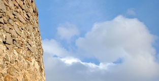 Background with blue sky and a fortress detail Royalty Free Stock Photography