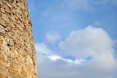Background with blue sky and a fortress detail Royalty Free Stock Photos