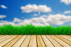 Background with blue sky and green grass Royalty Free Stock Photos