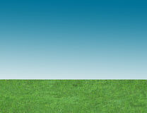 Background of blue sky and green grass Stock Photos