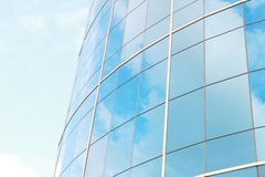 Background of blue sky reflect on glasses from  business buildin Royalty Free Stock Images