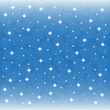 Background - blue sky with snowflakes Stock Photos