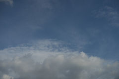 Background blue sky. Background of soft clouds in blue sky Stock Photo