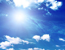 Background of blue sky and sun Royalty Free Stock Images