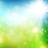 Background with blue sky and sun. Summer or spring background with blue sky and sun Stock Photo