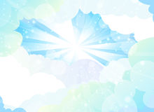 Background with a blue sky,. Sun and clouds Royalty Free Stock Image