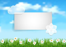 Background with blue sky,  white clouds end white flowers on gree Stock Image